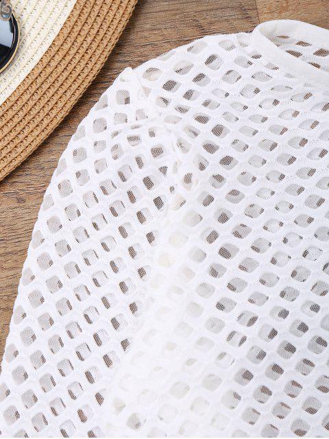 women's Long Sleeves Sheer Fishnet Swimsuit Cover Up - WHITE M Mobile