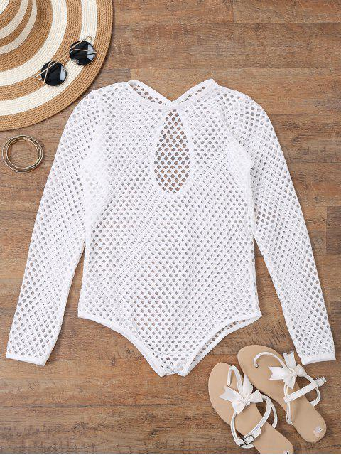 Manga Larga Sheer Traje de baño Fishnet Cover Up - Blanco S Mobile