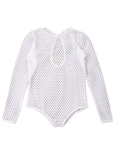 ladies Long Sleeves Sheer Fishnet Swimsuit Cover Up - WHITE S Mobile