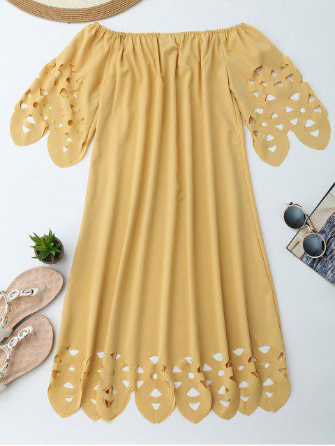 affordable Off The Shoulder Flared Dress - YELLOW M Mobile