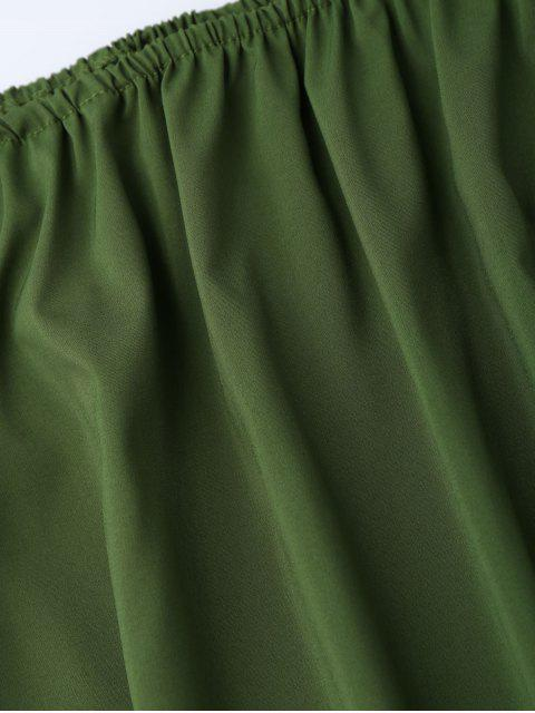 womens Off The Shoulder Flared Dress - ARMY GREEN XL Mobile