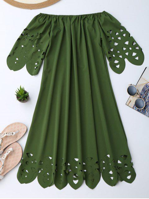 women Off The Shoulder Flared Dress - ARMY GREEN L Mobile