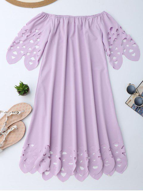 best Off The Shoulder Flared Dress - LIGHT PURPLE L Mobile