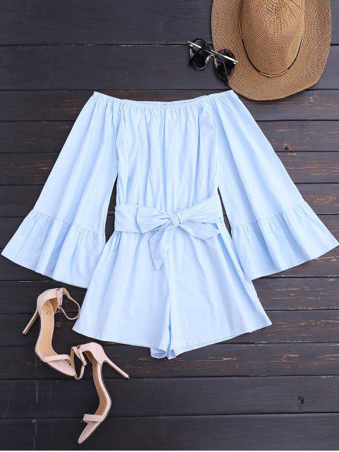 shops Off Shoulder Flare Sleeve Romper With Belt - LIGHT BLUE M Mobile