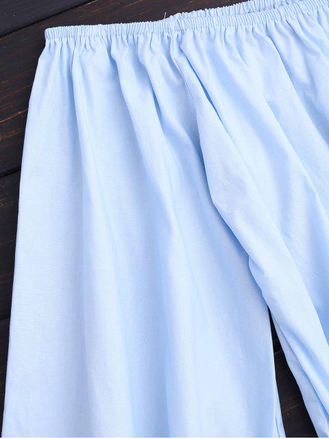 latest Off Shoulder Flare Sleeve Romper With Belt - LIGHT BLUE S Mobile