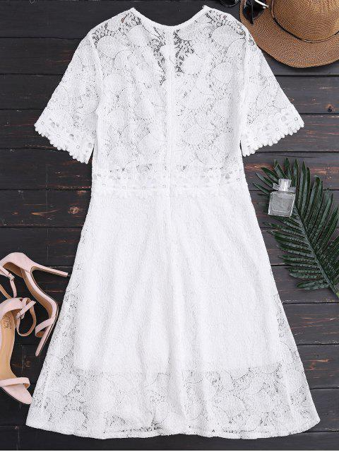 trendy Sheer Plunge Neck Lace Dress - WHITE S Mobile