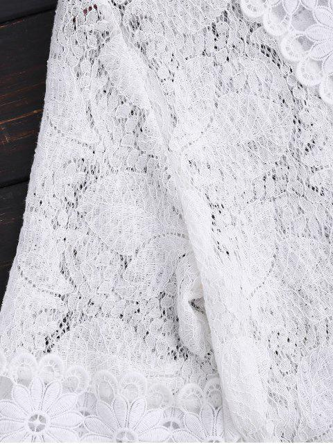 fashion Sheer Plunge Neck Lace Dress - WHITE M Mobile