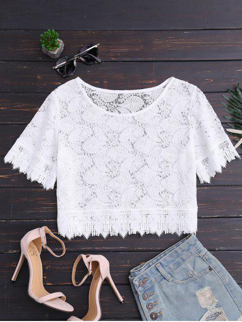 best Oversized Lace Top - WHITE XL Mobile