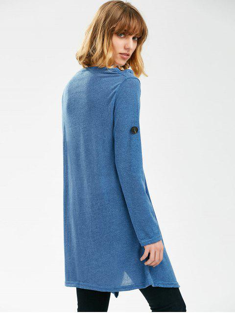 womens Pullover Long Sleeves Button Sweater - BLUE ONE SIZE Mobile