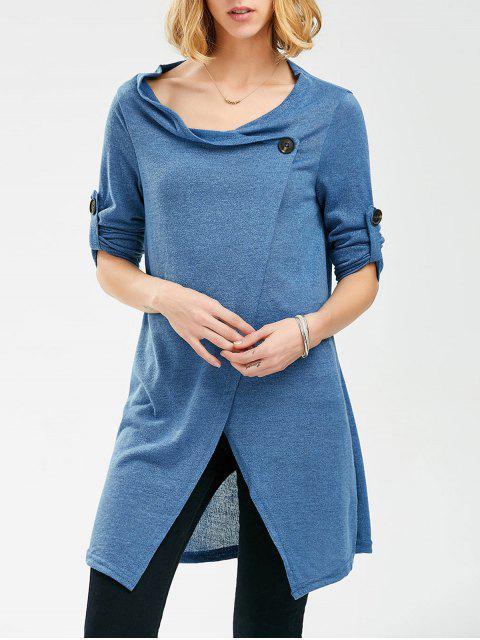 Einfarbiger Strickpullover mit Knopf und Langarm - Blau Eine Größe Mobile