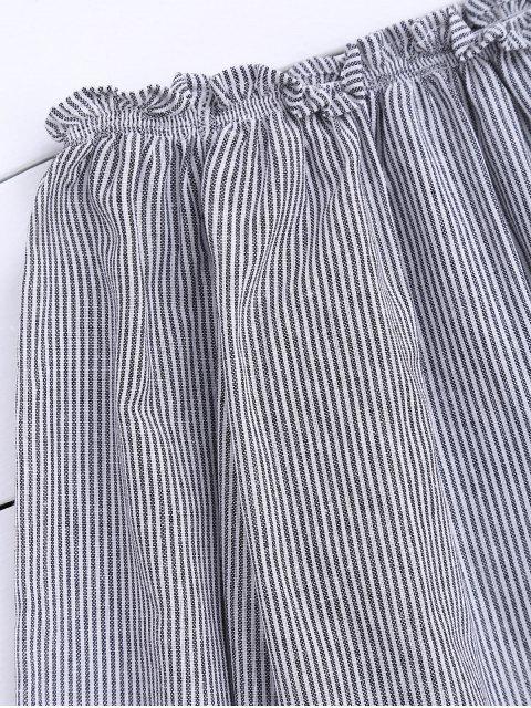 Top à volants à rayures sur épaule - Noir TAILLE MOYENNE Mobile