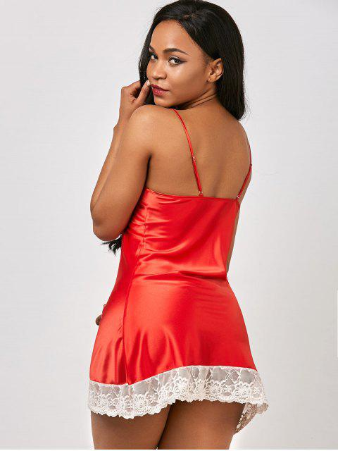 sale Lace Panel Satin Cami Babydoll - RED ONE SIZE Mobile