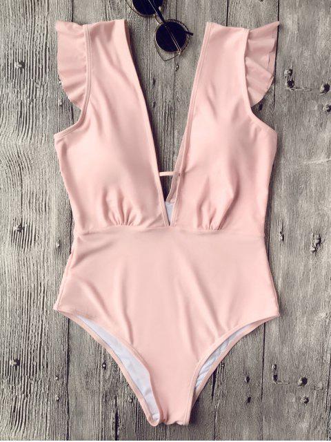 Rüschen tiefer Ausschnitt Einteiler Badeanzug - Pink L Mobile