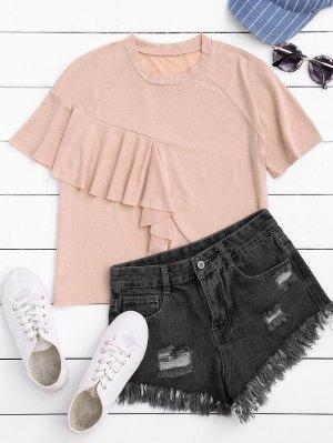 Camiseta De Manga Corta Con Volantes - Rosa Luz S