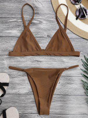 Spaghetti Straps Plunge String Bikini Set - Brown Xl