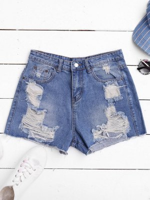 Ripped Cutoffs Denim Shorts