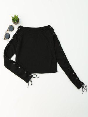 Split Sleeve Ata Para Arriba La Parte Superior De La Cosecha Del Knit - Negro S