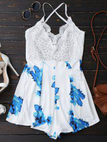Lace Panel Printed Backless Romper - White S