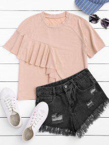 Short Sleeve Ruffle T-Shirt - Light Pink M