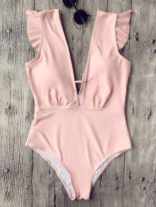Ruffles Plunging Neck One Piece Swimsuit - Pink L