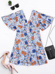 Kimono Sleeve Empire Wasit Floral Mini Dress - Floral S