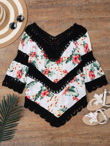 Floral Crochet Panel Beach Cover Up Top - Black