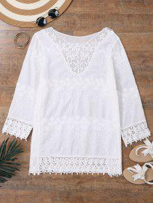 Bordado Beach Cover Up Vestido Con Mangas - Blanco
