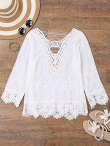 Embroidered Crochet Beach Cover Up Top - White