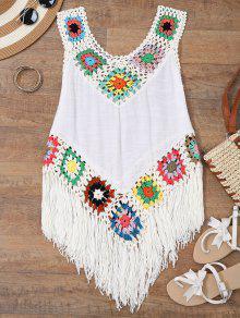 Buy Crochet Tasselled Beach Cover Tank Top - WHITE ONE SIZE