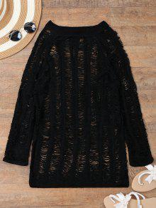 Long Sleeves Sheer Beach Cover Up Dress - Black S