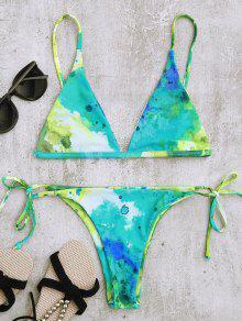 Tie Dye String Bikini Top Y Partes Inferiores - Multicolor L