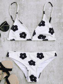 Conjunto De Bikini De Estampado Floral De Baja Cintura - Blanco M