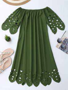 Off The Shoulder Flared Dress - Army Green S