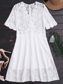 Vestido De Encaje Con Cuello De Plumas - Blanco M