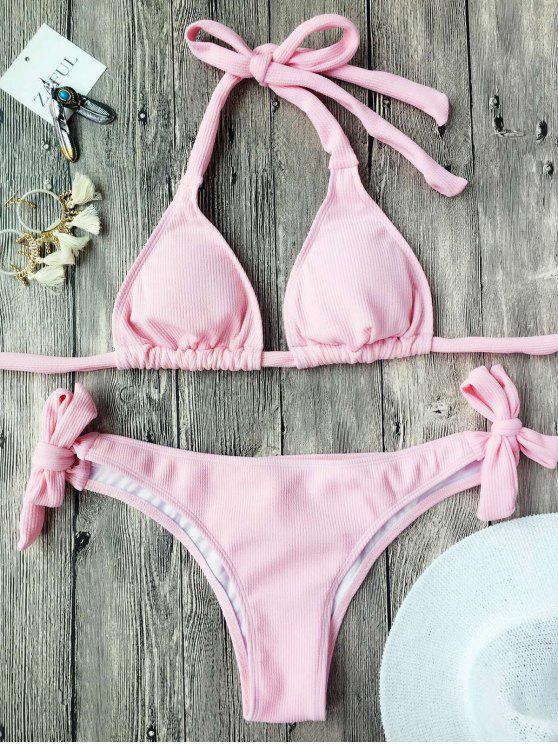 Conjunto de bikini acolchado con textura de costilla - Rosa S