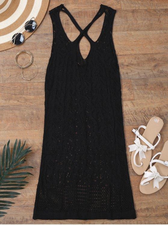 women Open Knit Cross Back Cover Up Dress - BLACK XL