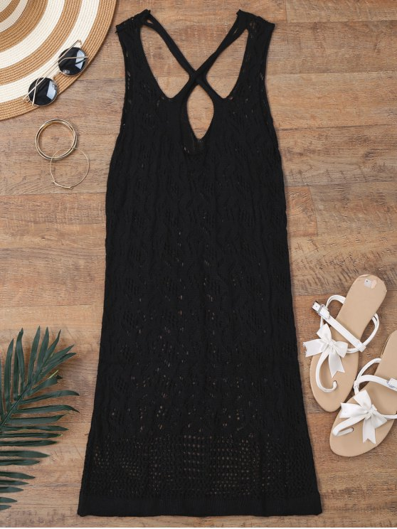 lady Open Knit Cross Back Cover Up Dress - BLACK S