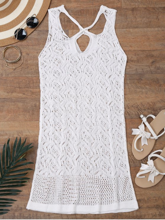 new Open Knit Cross Back Cover Up Dress - WHITE M