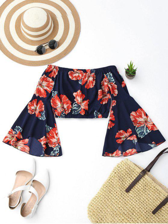 Blusa Recortada de Flores con Hombros al Aire con Mangas en Forma de Campanilla - Colormix L
