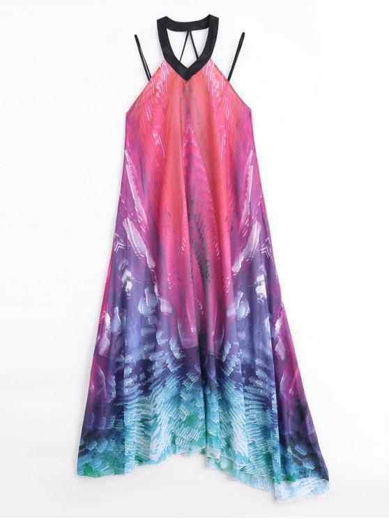 Flowy Maxi Chiffon Holiday Beach Dress - Cor Mistura L