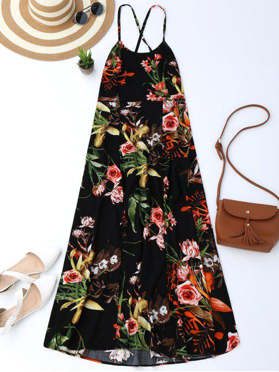 Böhmisches Rückenfreies Kleid mit Blumendruck und Schlitz - Schwarz M