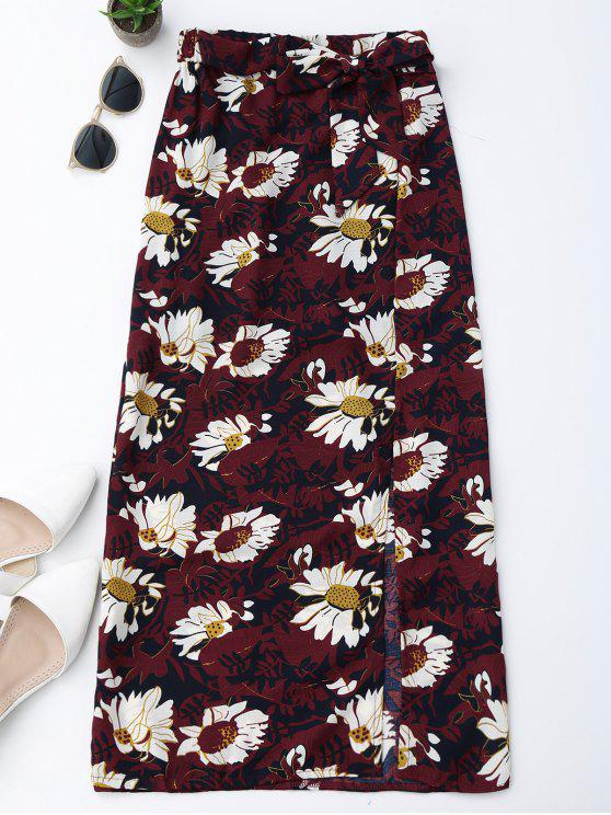 womens Floral Tie Side Slit Skirt - WINE RED M