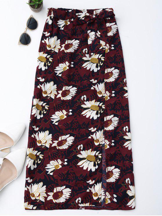 women Floral Tie Side Slit Skirt - WINE RED L