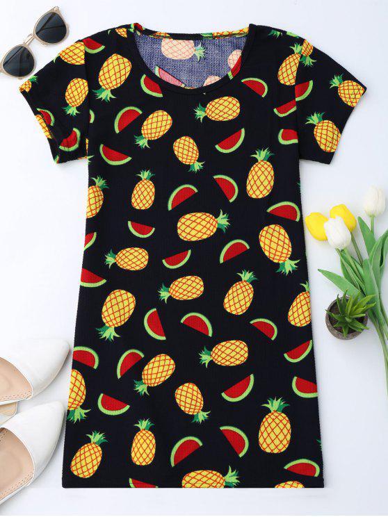 Robe tunique à manches courtes en ananas - Multicolore L