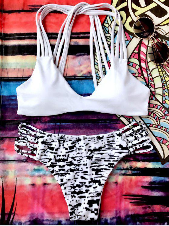 Sprinkle Imprimir Strappy conjunto de bikini Bralette - Blanco y Negro S