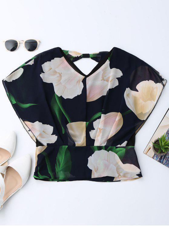 بلوزة طباعة الأزهار الشيفون - الأزهار L