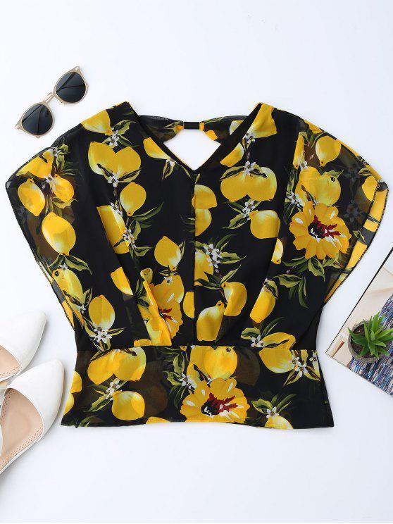 women Floral Chiffon Blouson Batwing Blouse - COLORMIX L