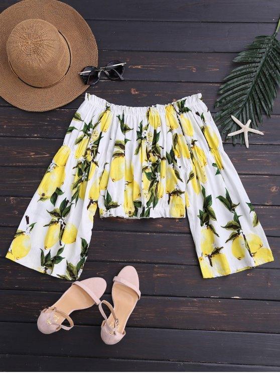 Blusa Corta con Estampado  de Limón con Hombros al Aire - Colores Mezclados M
