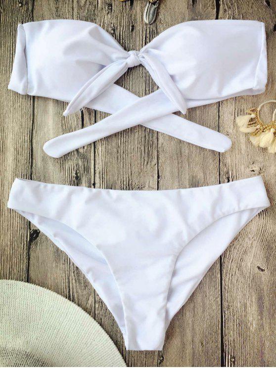 Ensemble de bikini à bandeaux noués - Blanc S