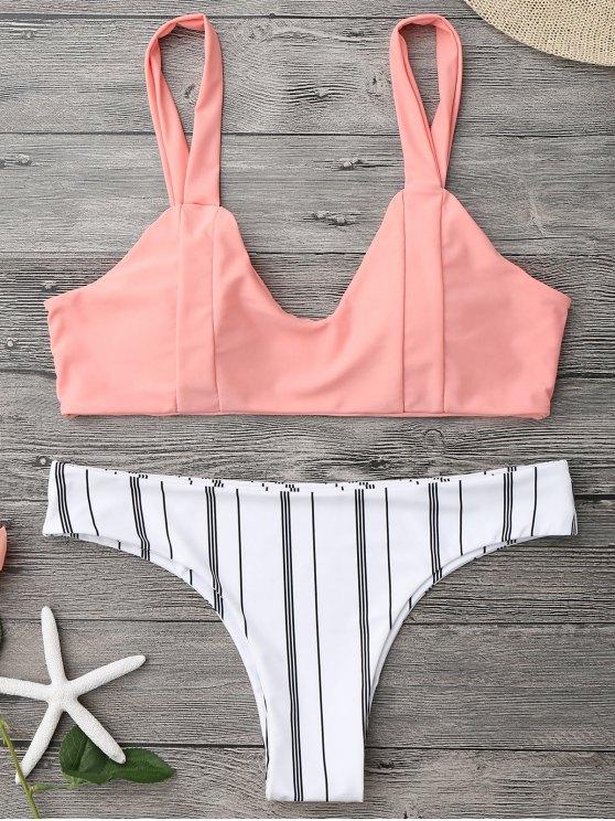 women Padded Striped Bralette Bikini Set - ORANGEPINK M